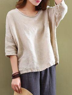 52a39e49235 Mori Pocket 3 4 Sleeve Loose Blouse Baggy Shirts