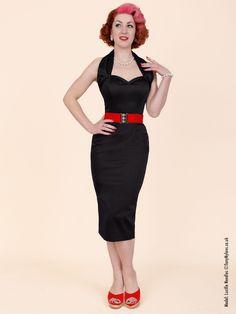 Halterneck Pencil Black Sateen Dress