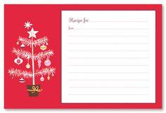 recipe stationery christmas tree recipe cards stationery