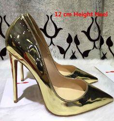 c2a17a95fc6a 12cm 10cm Women Pumps Fashion Red Bottom High Heels Pumps patent leather  Women Shoes pointed toe Wedding Shoes EU 35-42 berry10.com
