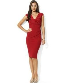 Lauren Ralph Lauren Lakehouse Red Cowl-Neck Jersey Dress - well made, has a weight in the front of the cowl to keep it hanging right