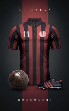 Top 20 des superbes maillots de foot vintage, imaginés par Emilio Sansolini - A.C Milan
