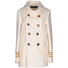 Dsquared2 Coat (€675) ❤ liked on Polyvore featuring outerwear, coats, ivory, dsquared2, pink double breasted coat, double-breasted coat, pink coat and long sleeve coat