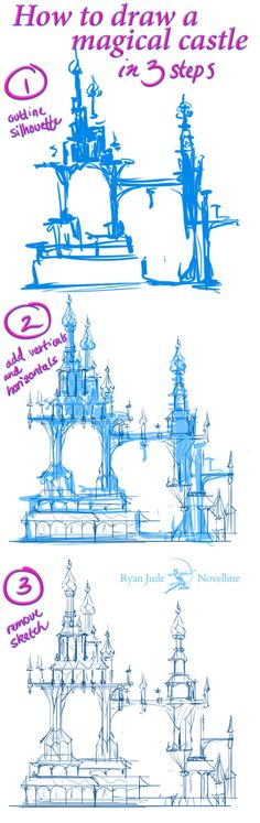 How to draw a magical castle in 3 steps