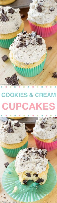 These Cookies and Cream Cupcakes are fluffy, moist and topped with a delicious vanilla buttercream frosting loaded with crushed Oreos.