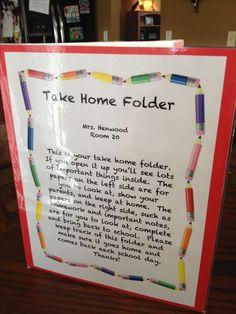Take home folders to keep kids organized.                              …