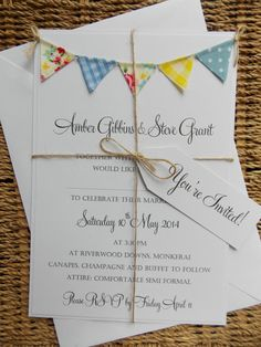 Bunting Wedding Invitation. 'Vintage Spring' Unique and Quirky invite. Blue and yellow gingham, polka dots and floral bunting