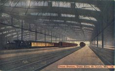 St. Louis Union Station when it still had trains. The station opened on September 1, 1894 and was expanded in 1903 to accommodate visitors for the upcoming world's fair. Amtrak stopped using Union Station on October 31, 1978.