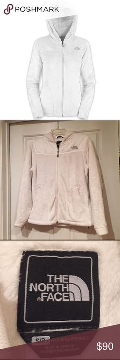 North Face Hooded Fleece Jacket The North Face hooded fleece jacket! Only worn a few times and in great condition. Super soft and warm! The lighting makes the fleece looks dirty but it is pure white in person. Size small. No trades. Make me a reasonable offer! The North Face Jackets & Coats