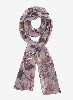 Dorothy Perkins Grey Meadow Floral Print Chiffon Scarf