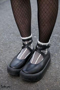 Black Strappy Tokyo Bopper Shoes in Harajuku.