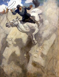 N.C. Wyeth, The Horse Fell With His Rider to the Bottom of the Cliff, c. 1927, oil on canvas, 40 x 30 inches