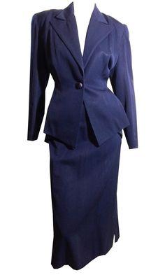 Deep Blue Gabardine Nipped Waist Suit circa 1940s