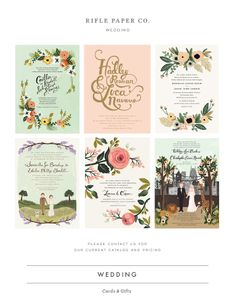 Rifle Paper Co wedding invitations. I love the one with the dog, but hate that it's gendered...