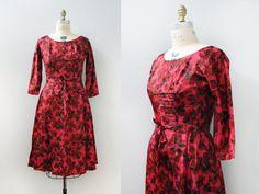 1950s Satin Watercolor Party Dress / 1950s dress / M L