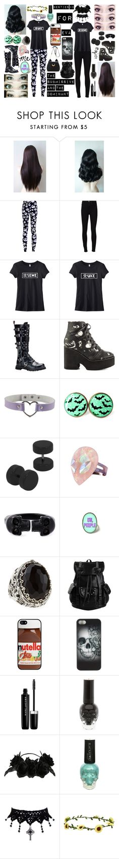 """@kj101 and Me! <3"" by tabithahallows ❤ liked on Polyvore featuring Bettie Page, Frame, Demonia, Iron Fist, Alexander McQueen, Konstantino, AT&T, Metal Mulisha, Marc Jacobs and Aéropostale"