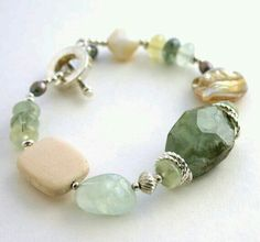 Soft tones Green Prehnite Bracelet by InspiredTheory Gemstone Bracelets, Handmade Bracelets, Gemstone Jewelry, Beaded Jewelry, Jewelry Bracelets, Artisan Jewelry, Handcrafted Jewelry, Bracelet Making, Jewelry Making