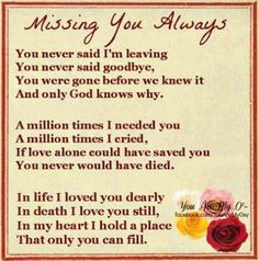 Missing you Hard to think it's been 20 years:( Give Brenda our love please