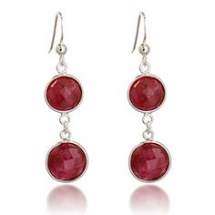 925 Sterling Silver Rimmed Round Double Circle Red Simulated Ruby Gemstone Dangle Earrings -- Check out the image by visiting the link.