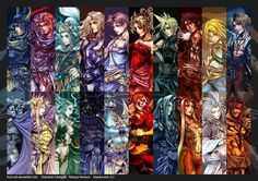 Warrior Of Light, Firion, Onion Knight, Cecil Harvey, Bartz Klauser, Terra Brandford, Cloud Strife, Squall Leonhart, Zidane Tribal, Tidus, Garland, can't remember, can't remember, can't remember, can't remember, Kefka Palazzo, Sephiroth, can't remember, Kuja, and Jecht. Official art. Final Fantasy Dissidia.