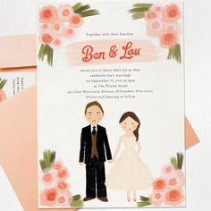 watercolor wedding invite - cute, and I've always wanted to be in cartoon form