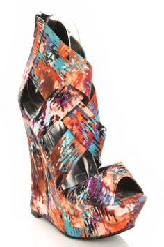 Orange Multi Printed Fabric Cross Strappy Platform Wedges