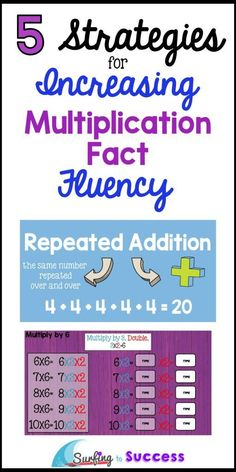 Multiplication Fact Fluency is essential.  Use these 5 Multiplication Strategies to help students understand multiplication.