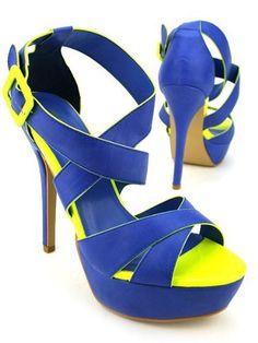16674017dd951 Cendriyon, Escarpins Bleu Nuit à Liseret Jaune Fluo KESY Chaussures Femme  Cendriyon, http