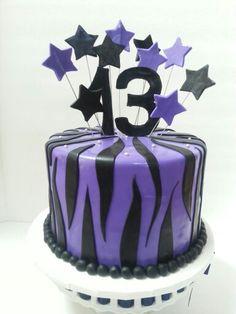 Zebra stripe and stars 13th birthday cake. Www.facebook.com/clairescutecakes