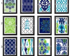 Turquoise Navy Chartreuse Grey Damask Art Print Set of Any