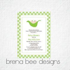 Personalized  Two Peas in a Pod Green Gingham  by brenabeedesigns, $12.75