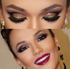 Gli occhi marroni messi in risalto da un ombretto dorato con glitter. www.profumissimaonline.com