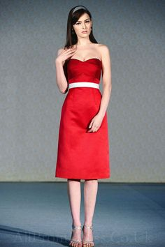 Wedding Themed with Red Bridesmaid Dresses Designs: Satin Chic Short Red Bridesmaid Dresses