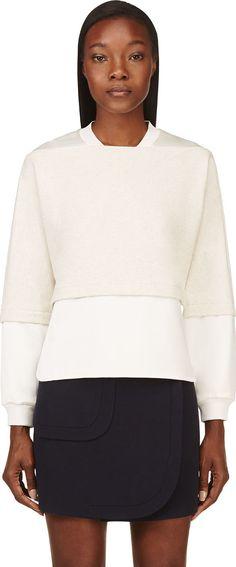 3.1 Phillip Lim Beige Jersey & Satin Layered Sweatshirt