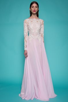 Light lavendar long Sleeve Chiffon Gown With Beaded Bodice by Naeem Khan