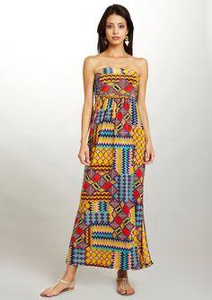 MLLE GABRIELLE Tribal Print Maxi Dress