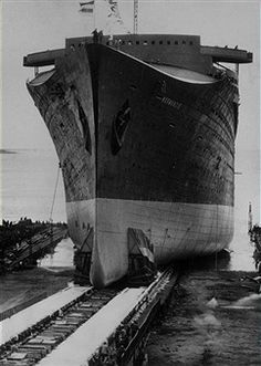 The launching of the SS Normandie, the only French Line vessel to win the coveted Blue Riband.