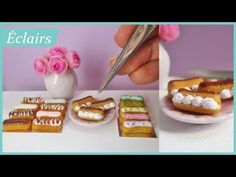 Today I'll be showing you how I made miniature eclairs from polymer clay for your miniature bakeries or to make fun jewellery with! Easy Polymer Clay, Polymer Clay Dolls, Polymer Clay Miniatures, Polymer Clay Charms, Dollhouse Miniatures, Eclairs, Clay Tutorials, Miniature Tutorials, Video Tutorials