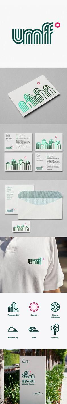 CIP Ideas - Ulju Mountain Film Festival by Studio fnt Corporate Design, Brand Identity Design, Graphic Design Branding, Corporate Identity, Visual Identity, Business Card Design, Logo Branding, Logo Design, Event Branding
