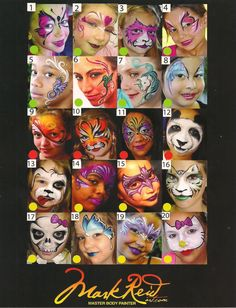 Mark Reid Display Board- 40 designs: Silly Farm Supplies Inc. Face Painting | Body Painting | Airbrush Supplies | Arty Brush Cakes | Rainbow Cakes | Clown Supplies