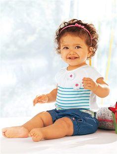 O macacão efeito 2 em 1, para bebé menina BRANCO CLARO AS RISCAS