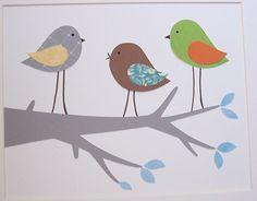 Baby Room Decor, Kids Wall Art, Children's Room Art Decor, Boys, Gray, Green, Brown, Birds, Sing Along, 8x10 Print