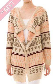 Aztec print, pink and cream colored open cardigan, NEW! #Other #Cardigan spring summer Burlap Crowns Boutique