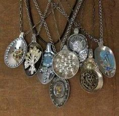Re-purpose spoons with brooches, earrings or loose beads added to them. Another very unique creation.