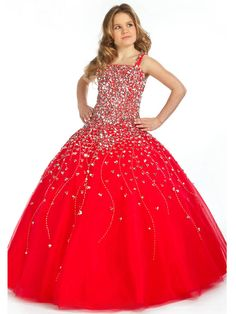 Princess Long Straps Crystal Ruched A Line Zipper Red Girls Pageant Dresses