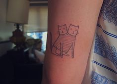 Seattle tattoos tattoo kitties gemini stick and poke 206 homemade tattoo handpoked snp mknz