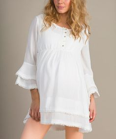 Another great find on #zulily! White Romantica Maternity Tunic - Women by Mom2moM #zulilyfinds