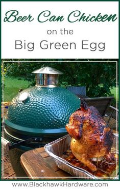 Grilling beer can chicken on the Big Green Egg is an easy way to impress your dinner guests. Smoked Beer Can Chicken, Beer Butt Chicken, Grilled Whole Chicken, Smoked Chicken Recipes, Canned Chicken, Grilling Chicken, Roasted Chicken, Big Green Egg Smoker, Big Green Egg Grill