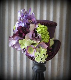Plum and Chartreuse Mini Top Hat, Alice in Wonderland Mini Top Hat, Tea Party Hat, Steampunk Hat, Gear Hat, Mad Hatter Hat, Bridal