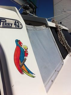 Wastin away again in Margaritaville..... Hand painted boat/car/trailer sticker. For sale at www.coconutcottage.com.au